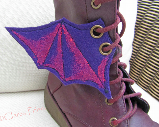 Steampunk Fabric Boot Wings Bat Wings Purple Pink
