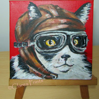 Flying Tuxedo Cat Art Original Acrylic Painting on Canvas Steampunk Retro