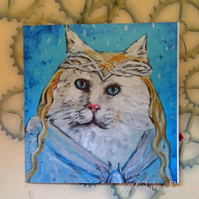 Galadriel Cat Art Greeting Card From my Original Painting