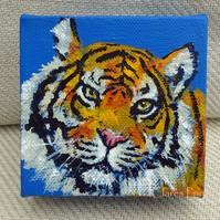 Tiger 3 Original Acrylic Painting on Box Canvas OOAK Cat Art