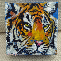 Tiger 4 Original Acrylic Painting on Box Canvas OOAK Cat Art