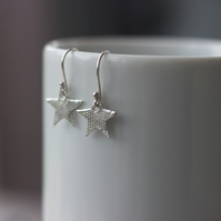 Eco Silver Sparkly Star Dangly Earrings, Gift for Her,
