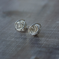 Ecosilver Wire Twist Stud Earrings, abstract wire earrings