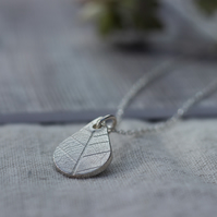 Fine Silver Teardrop Pendant with Leaf Pattern, Gift for her, nature lover
