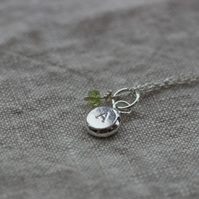 Personalised birthstone silver pebble pendant, recycled silver pendant