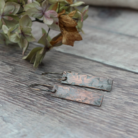 Copper Floral Pattern Rectangle Earrings, gift for her,