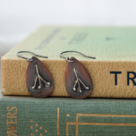 Copper & Silver Seed Head Nature Inspired Rustic, Earrings,Gift for Nature lover