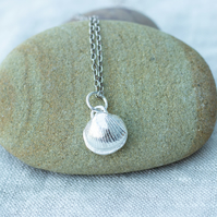 Eco Recycled Silver Sea Shell Pendant, Small Shell Pendant, Gift for her