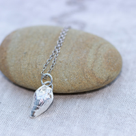Recycled silver shell pendant, sea shell pendant, shell necklace, gift for her