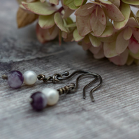 Amethyst and freshwater pearl, oxidised silver drop earrings, gift for her