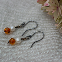 Freshwater pearl and amber Sterling silver drop earrings, gift for her.