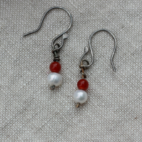 Freshwater pearl and carnelian Sterling silver drop earrings, gift for her