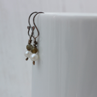 Freshwater pearl and labradorite Sterling silver drop earrings, gift for her