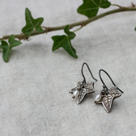 Silver & Pearl Ivy Earrings Oxidised, Eco silver Ivy leaf earrings,