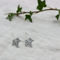 Recycled Silver Ivy Leaf Earrings, Oxidised Silver Ivy Earrings