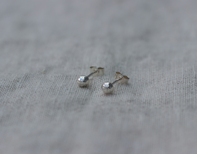 Recycled Sterling silver melted ball studs, simple, everyday earrings