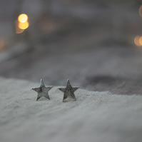 Recycled Silver Star Stud Earrings