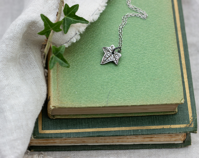 Recycled Silver Ivy Leaf Pendant, Nature inspired leaf necklace