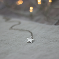 Eco Silver Sparkly Star Pendant Handmade Necklace, gift for her, Stocking filler