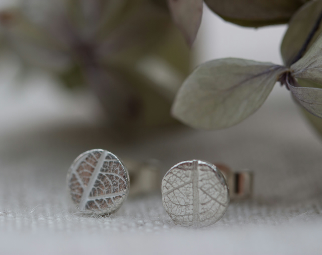 Tiny Recycled Silver Leaf Pattern Stud Earrings, gift for nature lover