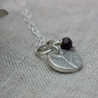 Silver Circle Birthstone Leaf Pendant, silver pendant with semi-precious beads
