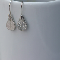 Silver Teardrop Leaf Pattern Earrings, recycled silver leaf drop earrings,