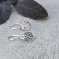 Recycled Silver Circle Earrings With Leaf Pattern