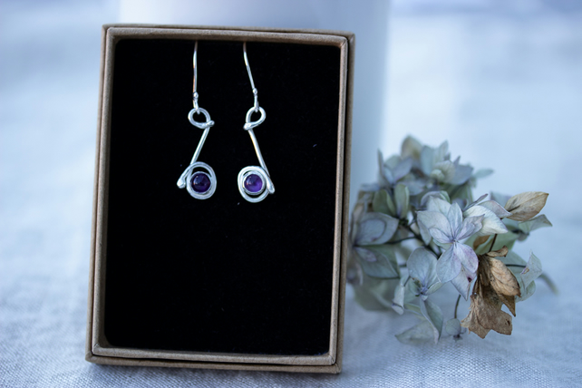 Sterling Silver Drop Earrings With Amethyst stones, Gift for February Birthday