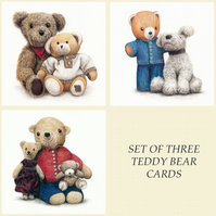 Greetings Card - Blank - Set of 3 Teddy Bear Designs