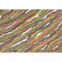 Leaf Abstract (Ribbons) No.3 Original Coloured Pencil Drawing