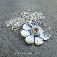 Citrine Dappled Textured Flower Sterling Silver Pendant  Gemstone Daisy Necklace