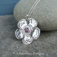 Rhodolite Garnet Dappled Textured Flower Sterling Silver Pendant - Gemstone