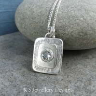 White Topaz Textured Layers Rectangular Sterling Silver Pendant - Sparkling