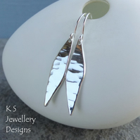Dappled Drop Sterling Silver Dangly Earrings - Shiny Textured Drops - Handmade