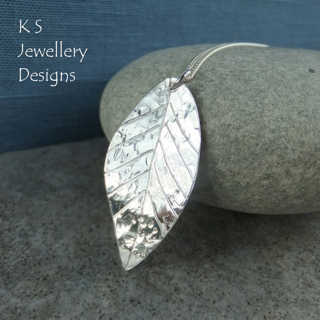 Textured and Dappled Fine Silver Leaf Pendant - Handmade Hand Stamped Necklace