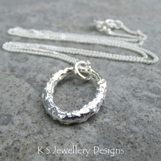 Textured Oval Fine Silver Pendant - Shiny Organic Reticulated Metalwork Necklace