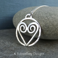 Heart & Textured Circle Sterling Silver Pendant - Loveheart Shiny Love Gift