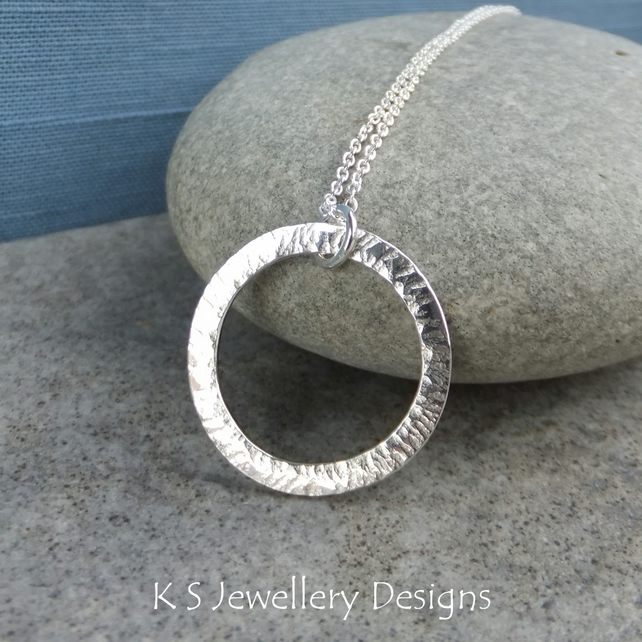 Starburst Circle Sterling Silver Pendant - Hammered Textured Metalwork Necklace