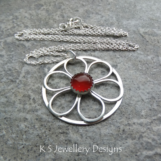 Carnelian Flower Circle - Sterling Silver Wire Floral Pendant Gemstone Metalwork