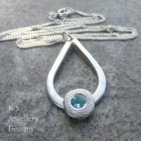 Swiss Blue Topaz Textured Pebble & Shiny Teardrop Sterling Silver Pendant