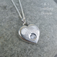Cubic Zirconia Sterling Silver Heart Pendant - Rustic Textured Sparkling Organic