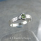 Peridot Sterling Silver Ring - Sparkling & Textured - UK size K US size 5.25