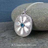 Apatite Doodle Flower Textured Oval Sterling Silver Pendant - DAISY v4  Handmade