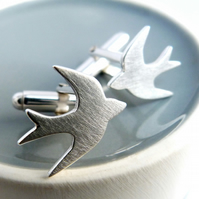 Swallow cufflinks - Matt finish - handmade in Sterling silver - Free UK postage.