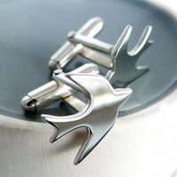 Swallow cufflinks - Shiny finish - Handmade in Sterling silver - Free UK postage