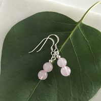 Rose quartz gemstone earrings with sterling silver earwires