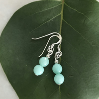 Aqua blue gemstone earrings with sterling silver earwires