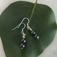 Hematite dark grey  semi precious earrings