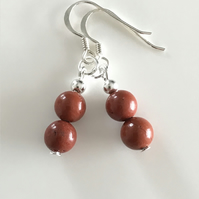 Red Jasper gemstone earrings with sterling silver ear wires