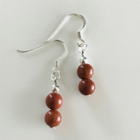 Goldstone brown glass bead earrings with sterling silver ear wires